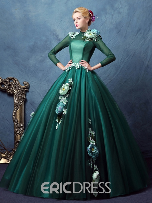 Ericdress High Neck Ball Gown Long Sleeves Flowers Quinceanera Dress