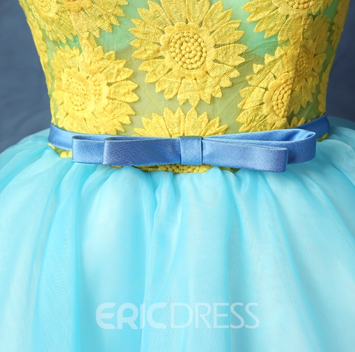 Ericdress Scoop Ball Gown Printed Sashes Mini Homecoming Dress