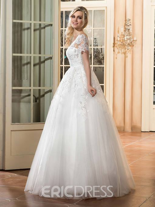 Ericdress Charming Illusion Neckline A Line Wedding Dress With Sleeves