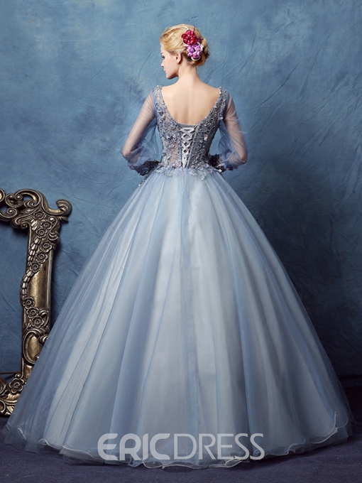 Ericdress Long Sleeves V-Neck Ball Gown Lace Long Quinceanera Dress