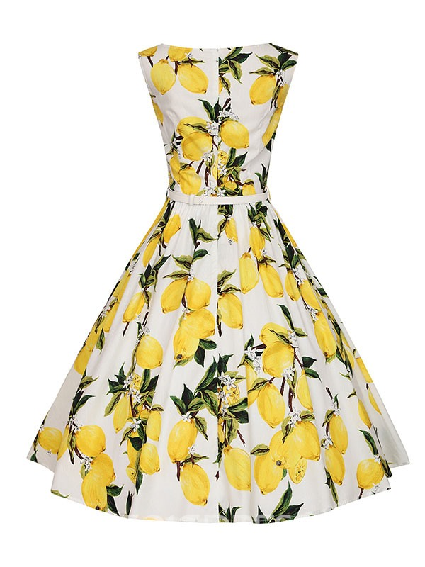 Ericdress Lemon Print Vintage A Line Dress