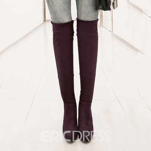 Pretty Round Toe Stiletto Heel Over Knee High Boots