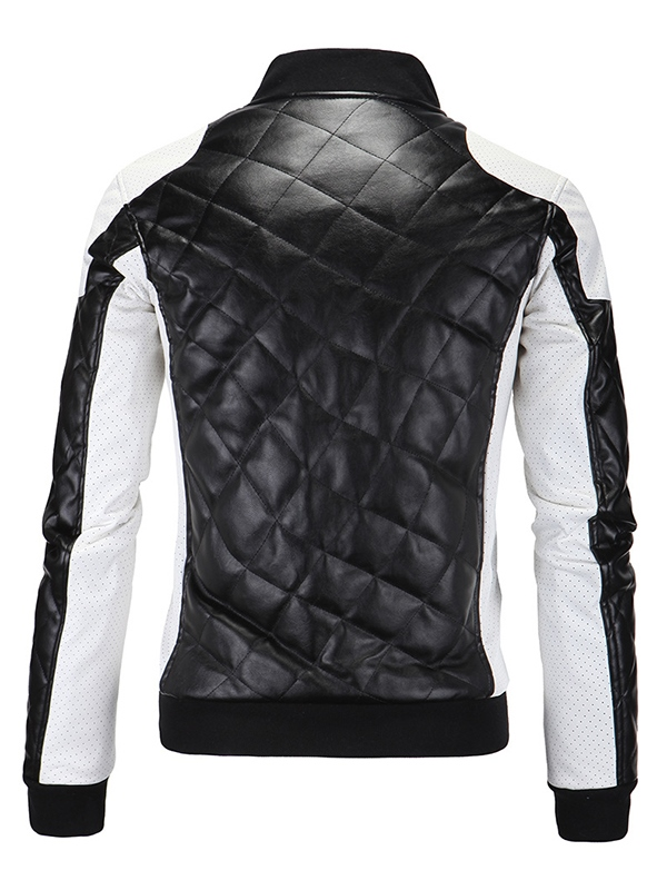 Ericdress Patchwork PU Zip Casual Men's Jacket