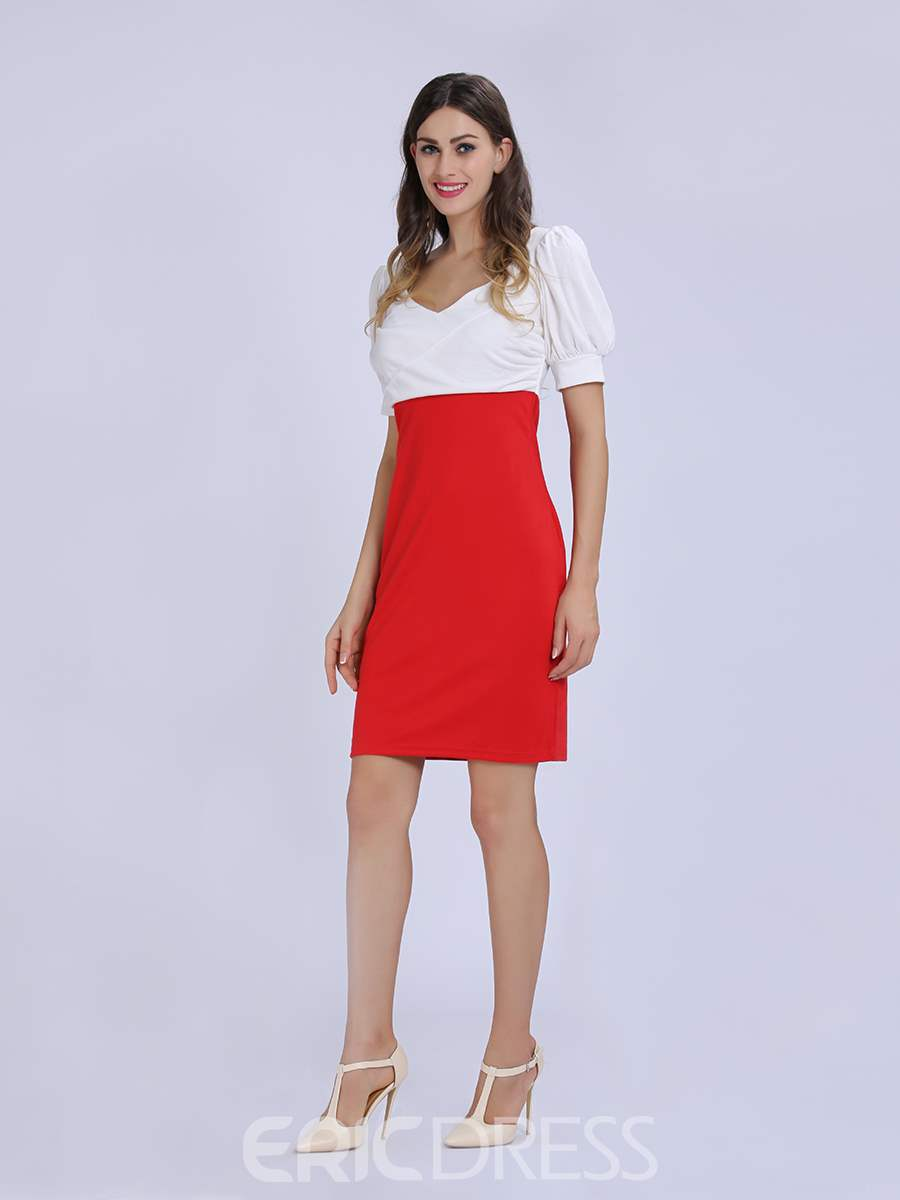 Ericdress Blue/Red V-Neck Little Party Dress