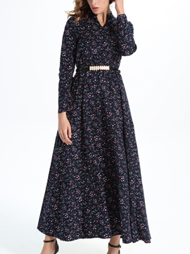 Ericdress Floral Print Long Sleeve Expansion Maxi Dress