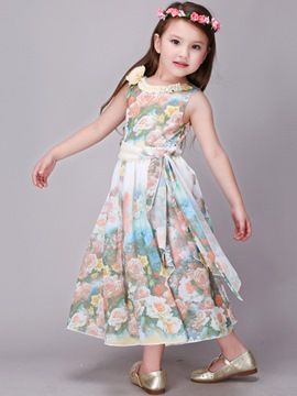 Ericdress Bow Belt Sleeveless Floral Print Girls Dress
