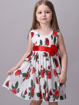 Ericdress Floral Appliques Tie Sleeveless Girls Dress