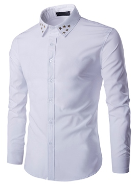 Ericdress Plain Star Decorated Vogue Slim Men's Shirt