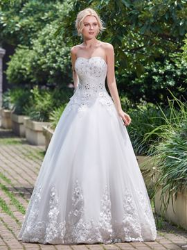 Ericdress Beautiful Appliques Beaded A Line Wedding Dress