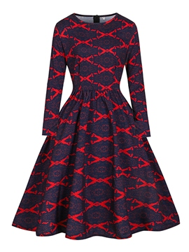 Ericdress Autumn Geometric Print Skater A Line Dress