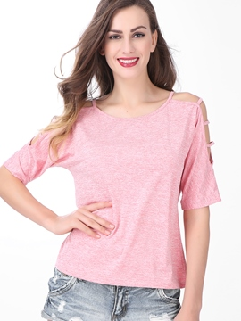 Ericdress Plain Round Neck Off-Shoulder T-Shirt