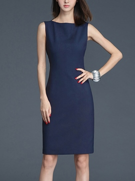 Ericdress Solid Color Sleeveless Bodycon Dress