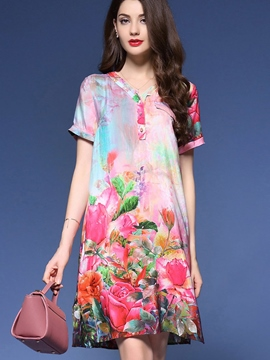 Ericdress Loose Short Sleeve Dye Print Casual Dress