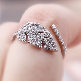 Ericdress Elegant Leaf Design Beading Open Ring