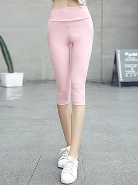 Ericdress Solid Color Seven Points Leggings Pants