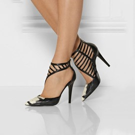 Ericdress Snake Print Point Toe Stiletto Sandals