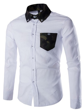 Ericdress Long Sleeve Color Block Pocket Patched Casual Men's Shirt
