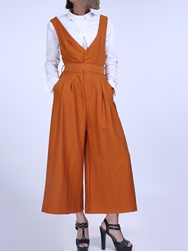 Ericdress Loose Wide Leg Suspender Women's Jumpsuit