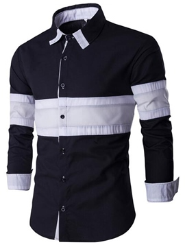 Ericdress Color Block Patched Casual Style Men's Shirt