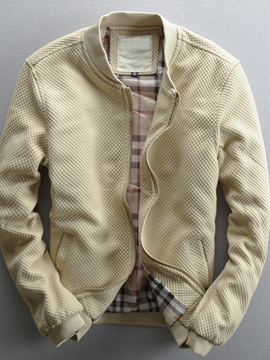 Ericdress Cotton Blends Vogue Stand Collar Zip Men's Jacket