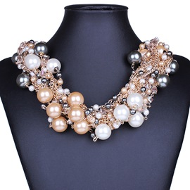 Ericdress Multilayer Pearls Decorated Necklace