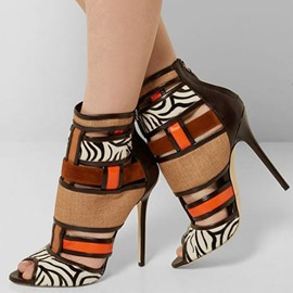 Ericdress ethnique Patchwork Peep Toe Stiletto sandales
