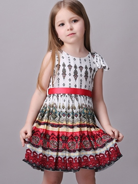Ericdress Pop Printed Tie Pleated Girls Dress