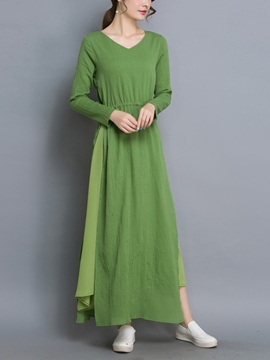 Ericdress Autumn Soild Color Ankle-Length Maxi Dress