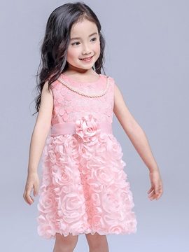 Ericdress Patchwork Floral Pleated Girls Dress