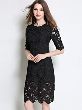 Ericdress Hollow Solid Color Half Sleeve Lace Dress