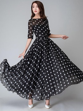Ericdress Polka Dots Half Sleeve Round Neck extension Maxi robe