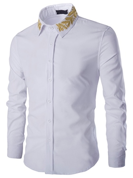 Ericdress Plain Vogue Embroidery Slim Men's Shirt
