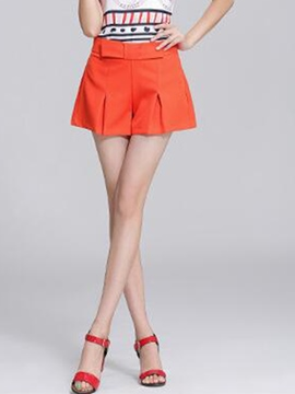 Ericdress Solid Color Pleated Shorts