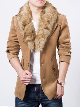 Ericdress Detachable Fur Collar Vogue Slim Men's Woolen Coat