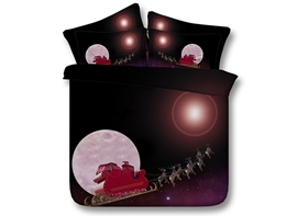 Santa on Sleigh Printed Cotton 3D 4-Piece Bedding Sets/Duvet Covers