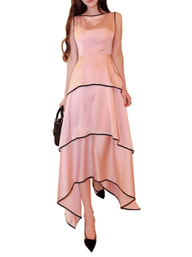 Ericdress Asymmetric Solid Color Layered Maxi Dress