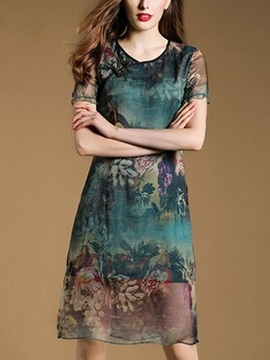Ericdress Summer Vintage Print Short Sleeve Casual Dress