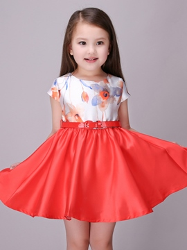 Ericdress Print Color Block Tie Girls Dress