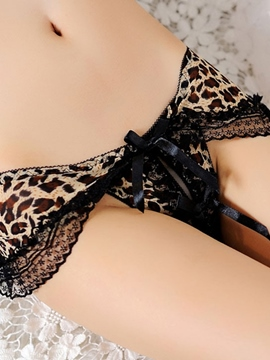 Ericdress Leopard Lace Patchwork Open Crotch Sexy Thong