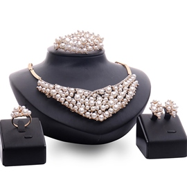 Ericdress Alloy Pearls Four Pieces Jewelry Set