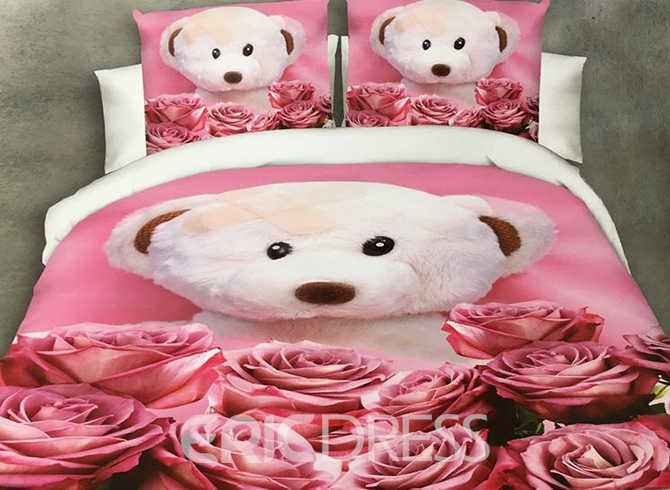 Vivilinen Bear Doll and Rose Print 4-Piece Polyester Duvet Cover 12210620