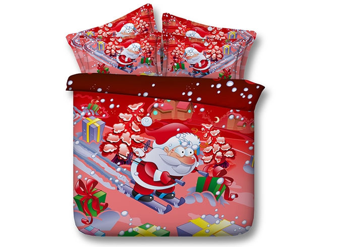 Santa on Skis Printed Cotton 3D 4-Piece Red Bedding Sets/Duvet Covers