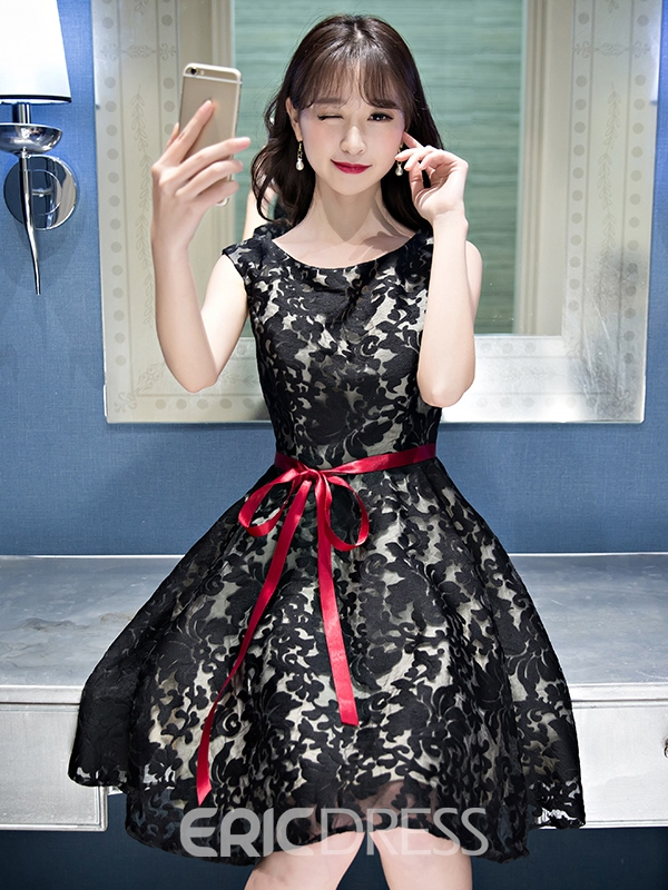 Ericdress A-Line Scoop Lace Sashes Knee-Length Homecoming Dress