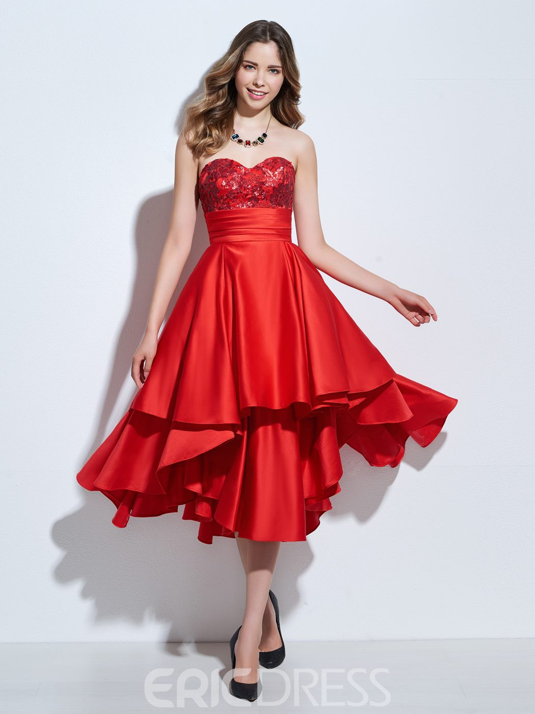 Ericdress A-Line Sweetheart Appliques Sequins Asymmetry Cocktail Dress