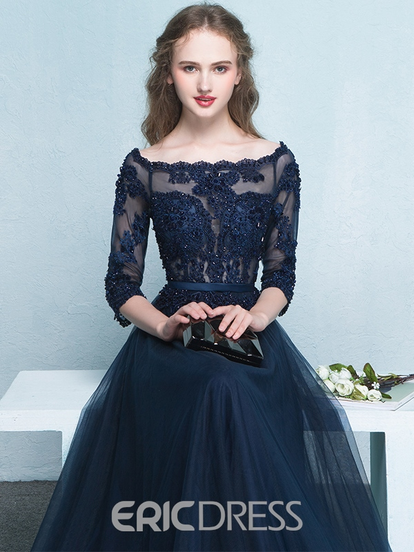 Ericdress 3/4 Sleeves Appliques Beading Lace Evening Dress In Floor-Length