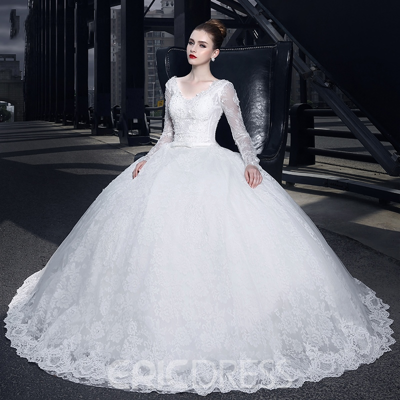 Ericdress Beautiful V Neck Ball Gown Long Sleeves Wedding Dress