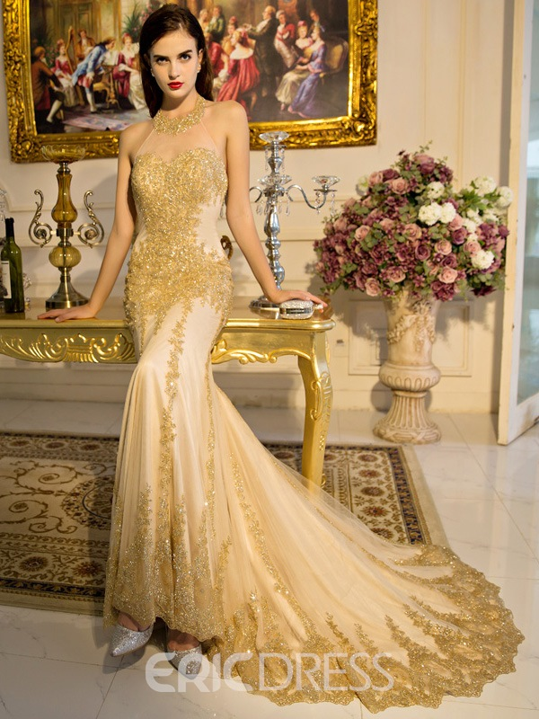 Ericdress Trumpet Halter Lace Sequins Court Train Evening Dress