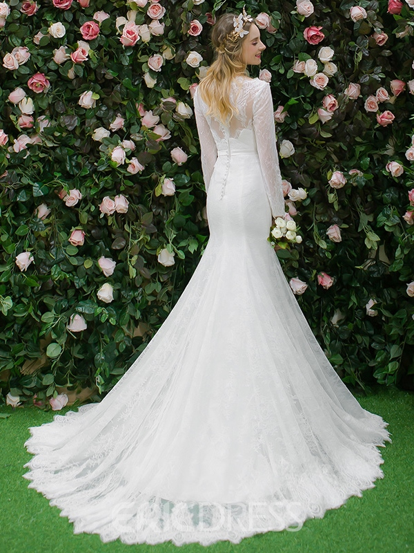 Ericdress Button Long Sleeves Mermaid Lace Wedding Dress