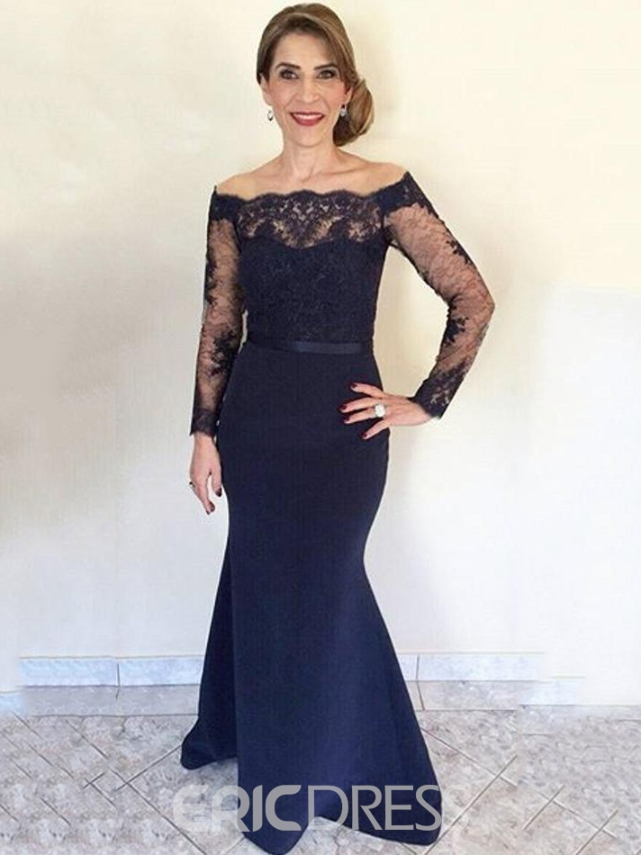 Ericdress Elegant Off The Shoulder Mermaid Lace Mother Of The Bride Dress With Sleeves