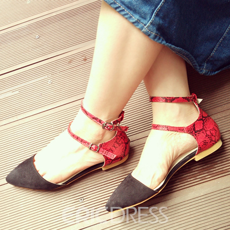 Ericdress Snake Patchwork Pointed-toe Flat Sandals